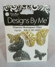 Butterfly Charms, pewter &Gold Tone Pendant Bead Jewelry Making, Blue Moon Beads