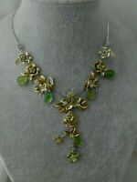 Vintage Signed DG Enamel Rhinestone Flower Butterfly Rhinestone Pendant Necklace