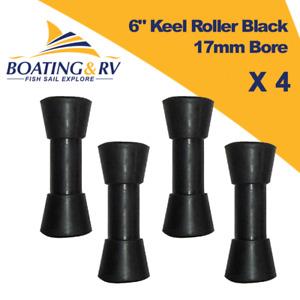 "4 x 6"" Black Sydney Keel Rollers | 17mm Bore | Boat Soft Rubber Trailer Rollers"