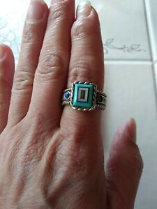 Carolyn Pollack CJ's  Jewelry Sterling,Turquoise inlaid Ring approximately Sz 9