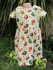 Girls Short-Sleeved Dress, Cream, Chickens, 4-5 Years, New, Handmade