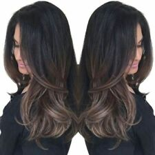 Long Side Bang Ombre Natural Straight Synthetic Wig - Gradual Brown