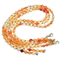 5.5mm faceted coin shape beads natural gem Mexico fire opal necklace 17 inch full strand