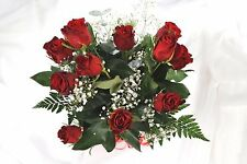 FRESH REAL FLOWERS Delivered 12 Red ROSES FREE UK Next Day Delivery by post
