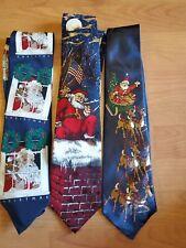 3 Neckwear SANTA CLAUS 100% Silk  Tie Christmas Holiday