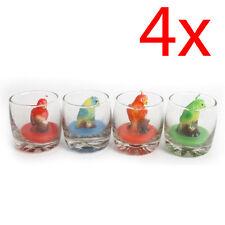 Lot de 4 perroquet en forme de bougies en verre pot Home Decor Couleur Cire Cadeau Nouveau