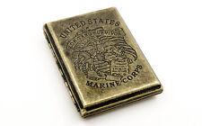 Vintage Brass Copper USA Marine Corps Sea Pirate Wiredrawing Cigarette Case Box