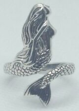 Mermaid Ring Adjustable 925 Sterling Silver Hand Crafted Nice Detail Nautical #2