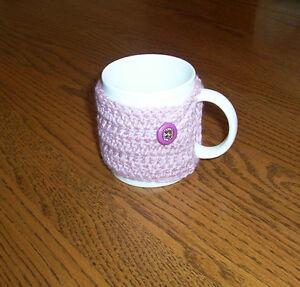 Hand Crochet Light Mauve Buttoned Coffee Mug Cozy