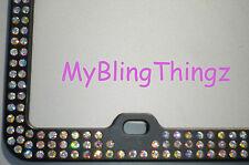 3 Rows Inset Bling Swarovski Crystal AB Rhinestones on Black License Plate Frame