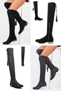 WOMENS-LADIES OVER THE KNEE FLAT BOOTS FAUX SUEDE THIGH HIGH  SHOES NEW*UK