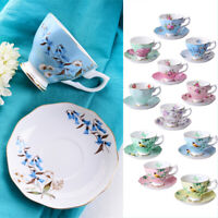 European Luxurious Bone China Coffee Cup and Saucer Set Household Flower Tea Cup
