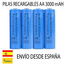 4 PILAS AA 2A BATERIAS 3000MAH 3000 RECARGABLES DOBLE A NI-MH LASER LED MANDO SP