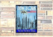 New York City USA Travel Sticker Luggage Sticker Metal  Wall Plaque