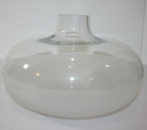 """Clear and Frosted Round Blown Glass Vase 11"""" x 7""""H"""