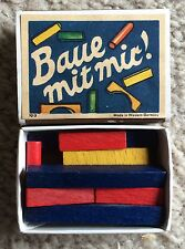 Vintage Matchbox Game Baue Mit Mit! Juri West Germany Wooden Puzzle Blocks Game