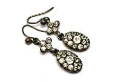 paste drop earrings Antique Georgian silver clear