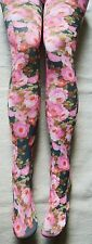 Pink & Blue Floral Roses Peony Tights S/M opaque Beautiful Spring Great W/Shorts