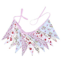 Vintage Chic Floral Double Sided Fabric Bunting 3.2m 12 Flags Party Banner N8C4