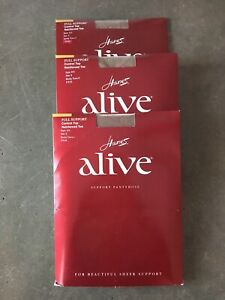 Lot 3 Hanes Alive Support Pantyhose 810 Size E Barely There Full Control Top New