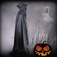 Halloween Fancy Dress Costume Long Hooded Cloak Cape Vampire Party Death D7L2