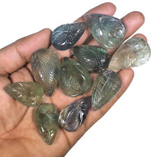10 Pcs Untreated Natural Fluorite Green Bi Color Beautiful Carved Gems 35mm-41mm
