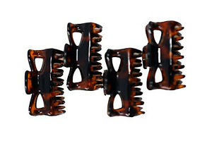 Pack of 4 Butterfly Design Brown Colour or Tort Mini Hair Claw Clip