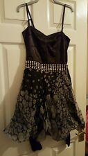Size 8 Vintage Corset Topshop Stud Belt Black Net and Satin Dress Christmas Goth