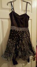 Tamaño 8 Vintage Corsé Topshop Stud Cinturón Negro Vestido de satén y net Navidad Goth