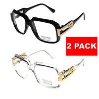 2 Pair Clear frame Clear Lens Square Retro Sun Glasses Gold Metal Accents dmc