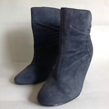 """EVIE Dusky Blue Suede 4"""" Slim High Heel Pull On Bootie Ankle Boots UK 6 EU 39"""