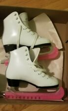 Dominion  Model 718G White Leather Figure Skates, Size G13 Good Condition