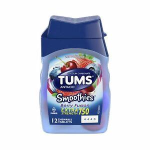 TUMS Smoothies, Extra Strength Calcium Carbonate Antacid, Berry Fusion, 12 Ct