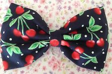 "5"" NAVY RED CHERRY VINTAGE STYLE FRUIT PRINT COTTON FABRIC RETRO BOW HAIR CLIP"