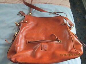 Dooney & Bourke large ginger brown leather shoulder handbag
