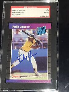 Felix Jose SIGNED Autograph 1989 Donruss #38 Rookie Card OAKLAND A Champions SGC