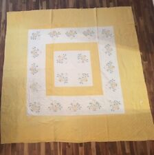 "c1940's Vintage Hand & Machine Quilted Quilt Yellow Floral Basket (80""x80"")"