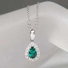 Kette Collier 0,60ct Smaragd 0,07ct TW-vsi/si Brillant Weißgold UVP. 2.450,-€