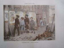 Gravure 19° Alphonse Lint Jeunes amateurs (peintre affiche palissade)