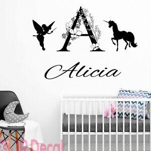 Girl room decals, Personalised unicorn wall stickers, Nursery decor, wall art