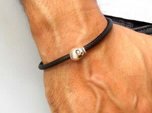 Skull sterling silver black leather bracelet bike bangle sterling bead men cuff