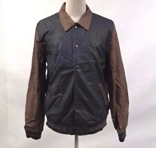 Obey Men's Faux Leather Jacket Varsity Navy/Tan Size XL NWT