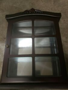 Mahogany Finish Wall Mount or Table Top Curio Glass Doors Cabinet Display Case