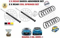FOR MAZDA 3 BL 2009 > NEW 2 X REAR SHOCK ABSORBER SET + 2X COIL SPRINGS KIT