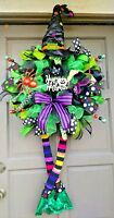 Halloween Witch Wreath XL Handmade Deco Mesh Hat & Leg Door Decor