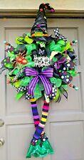 """Handmade XL 50"""" Deco Mesh Witch Wreath Posable Legs Hat Halloween Door Decor"""