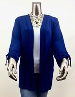 CHICO'S $96 TRAVELERS *NWT BLUE 3/4 RUCHED TIE SLEEVES JACKET SIZE 0.(S)