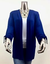 CHICO'S TRAVELERS 3 (XL) *NWT BLUE 3/4 RUCHED TIE SLEEVES JACKET/CARDIGAN $96