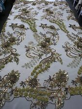 Gold & Bronze Mesh w/ Embroidery Beaded Lace & Sequins Fabric - Sold by the Yard