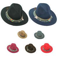 Women Ladies Wide Brim Floppy Bowler Lace Trim Hat Wool Felt Fedora Charm TRILBY